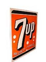 Addendum Item - Large N.O.S. 1950s 7-up wood framed tin painted general store sign. - Front 3/4 - 99598